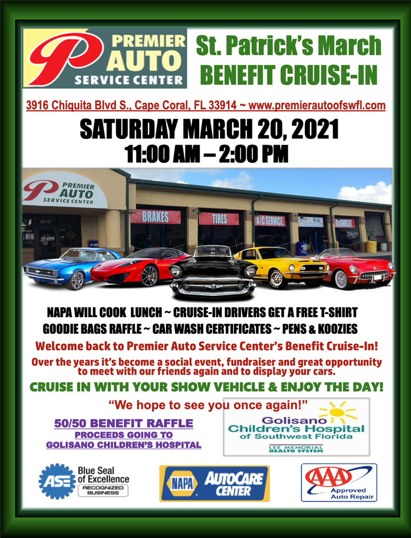 St. Patrick's Benefit Cruise-In: Saturday March 20, 2021